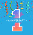 1 year anniversary colorful ribbon blue background vector image