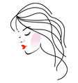 a girl with wavy hair- Beauty logo vector image
