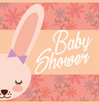 baby shower greeting card female bunny flowers vector image vector image