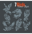 Birds in tribal style set vector image vector image