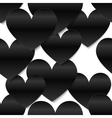Black glossy paper hearts white background vector image vector image