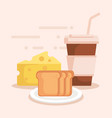 bread with coffee and cheese vector image vector image