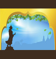 buddha statue and bodhi tree with golden arch