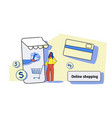 businesswoman using mobile application online vector image vector image