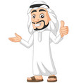 cartoon saudi arab man giving a thumb up vector image vector image