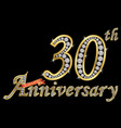 celebrating 30th anniversary golden sign with vector image vector image