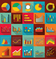 chart diagram icon set flat style vector image vector image
