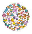 children toys icon set in circle shape doodle vector image vector image