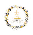 christmas wreath with black and gold branches and vector image