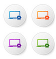 color laptop and gear icon on white background vector image vector image