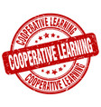 cooperative learning red grunge stamp vector image vector image