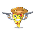 cowboy pizza slice character cartoon vector image