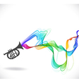 Dark gray guitar icon with color abstract wave