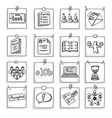 doodle business career development elements set vector image