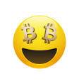 emoticon with golden bitcoin sign eyes vector image