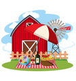 farm scene with picnic lunch on lawn vector image vector image