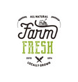 farmers market typography badge fresh and local vector image vector image