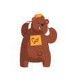 funny bear showing sticker go on his back cartoon vector image vector image