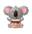 funny cute exotic koala with birthday cake on vector image