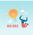 happy businessman jumping with big light bulb vector image