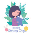 international literacy day cute girl reading book vector image vector image