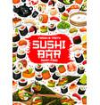 japanese sushi and rolls asian food menu vector image vector image