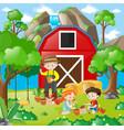 kids planting tree in the garden vector image vector image