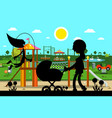 kids playground in park with mother and child vector image vector image