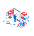 media book library isometric concept vector image