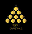 merry christmas ball gold sparkles glitter vector image vector image