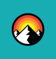 mountain badge design hiking climbing circle vector image vector image