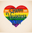 rainbow gay themed valentines day card with vector image vector image