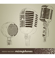retro set microphones in doodle style vector image vector image