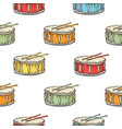 seamless pattern color drum with drumsticks vector image