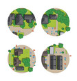 set city top view from rooftops trees cars vector image vector image