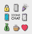 set mobile icons chat message vector image