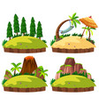 set of islands white background vector image