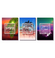 set of summer sale template banner tropical vector image vector image