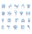 set party related line icons vector image vector image