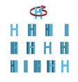 sheet of sprites rotation of cartoon 3d letter h vector image vector image