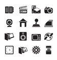 Silhouette Computer and mobile phone icons vector image vector image