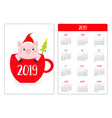 simple pocket calendar layout 2019 new year week vector image