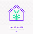 smart home thin line icon vector image
