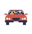 smiling family riding on car together front view vector image