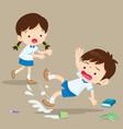 student boy falling on wet floor vector image vector image