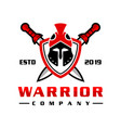 sword soldier head shield logo design vector image vector image