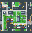 urban top view area with building trees lawns vector image vector image