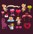 valentines day hearts flowers and loving couple vector image