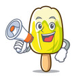 with megaphone lemon ice cream character cartoon vector image vector image