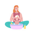 woman sitting with bamom washing child isolated vector image